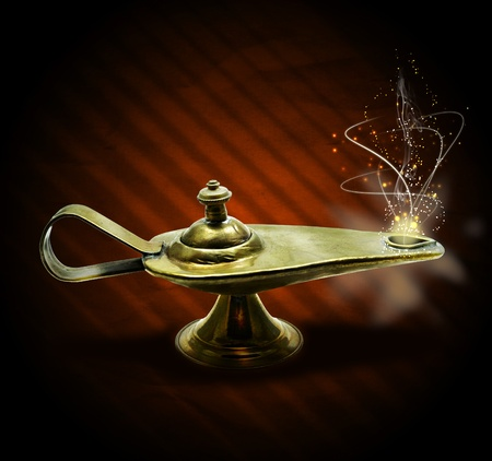 jinn: magic aladin lamp with magic smoke and sparkles on a brown background: 3 wishes free