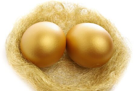 priceless: two golden eggs in the nest isolated on a white background