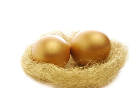 two golden eggs in the nest isolated on a white background photo