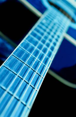 Guitar side view, strings and fingerboard photo
