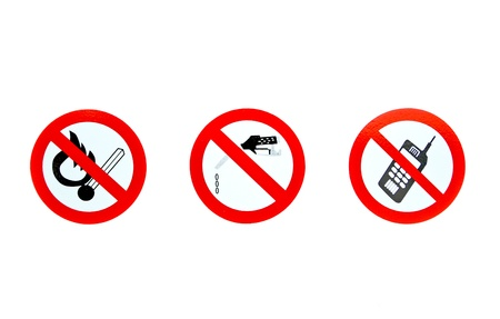 no smoking, no gas dropping and no cell phone signs on a white background Stock Photo - 10017333