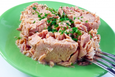 Tinned tuna with some parsley on a green plate isolated on white photo