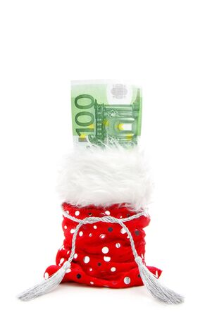 euro bill in a red present-bag isolated on a white background photo