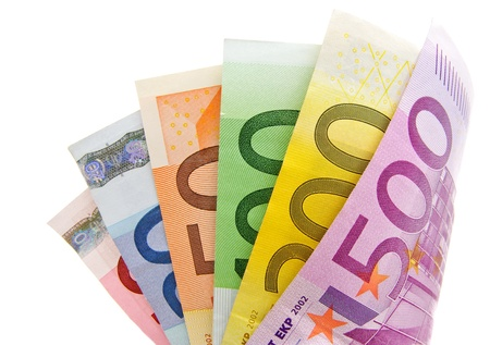 fanned: Fanned multicolored euro banknotes isolated on a white background Stock Photo