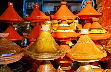 Moroccan ceramic cookware  tajines at the market photo