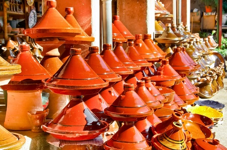 Moroccan ceramic cookware  tajines at the market Stock Photo