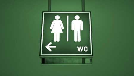 wc sign: Men and women toilet sign with an arrow showing direction Stock Photo