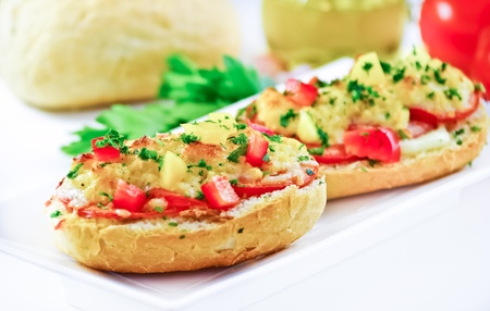 Baked bruschetta with diced vegetables and cheese. Ingeredients in the background photo