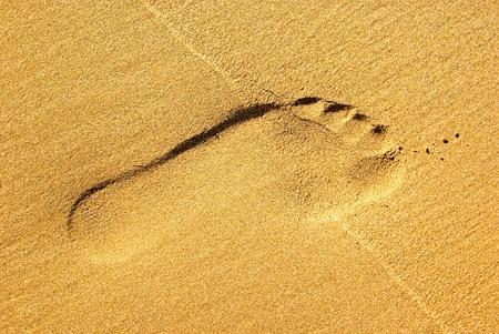 A single footprint on the beach sand Stock Photo