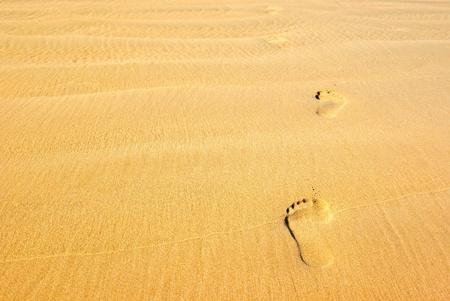 Footprints on the beach sand leading away