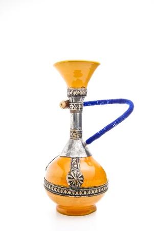 Handmade ceramic shisha on a white background