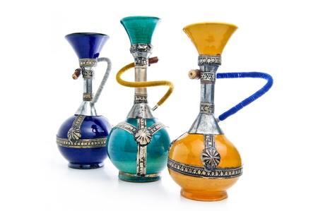 Handmade ceramic shishas on a white background Stock Photo