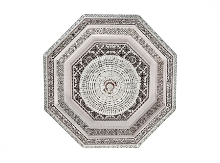 arabic architecture: Interior decoration  detail of a mosque´s ceiling isolated on white Stock Photo