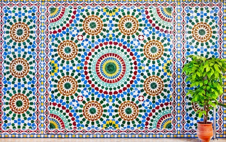 moroccan culture: colorful moroccan mosaic wall as a background