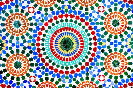 marrakesh: colorful moroccan mosaic wall as a background