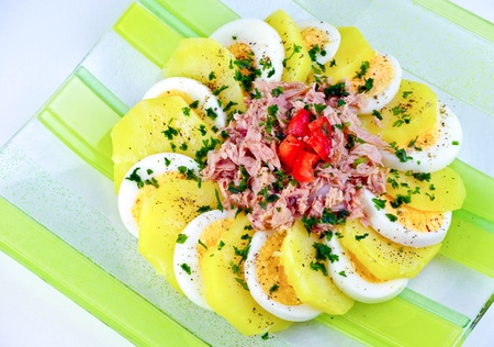 lowfat: Mixed seasoned salad with eggs, potatoes and tuna