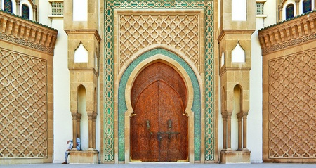 Islamic doorway detail of Mohammed IV Mosque, Agadir, Morocco