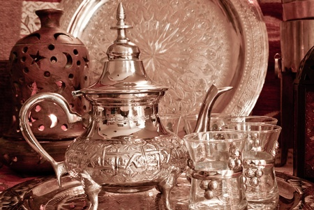 Bedouin tea party set up in a warm oriental candelight  atmosphere Stock Photo