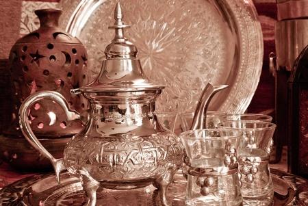 tea lamp: Bedouin tea party set up in a warm oriental candelight  atmosphere Stock Photo