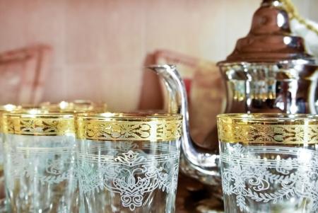 marrakesh: Bedouin tea party set up in an oriental  atmosphere
