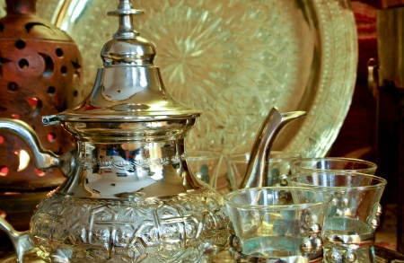 brass lamps: Bedouin tea party set up in an oriental  atmosphere