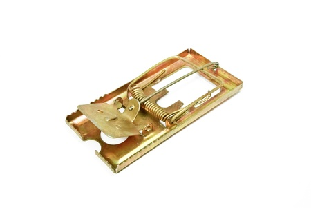 booby trap: Mouse trap on white background.