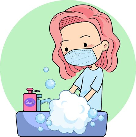 woman wearing face mask washing hands at purple sink
