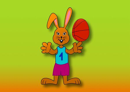 Easter bunny with a basketball in the shaped egg