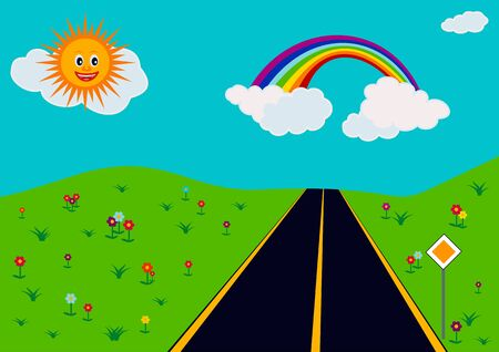 landscape with flowers, road and blue sky with rainbow Illustration