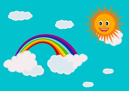 cerulean: Cerulean sky with a rainbow in the clouds and sunshine