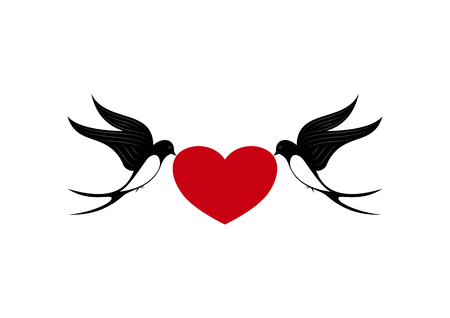 Two swallows in love with heart