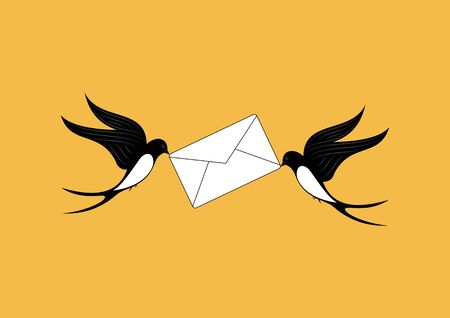 Two swallows Delivers mail Illustration