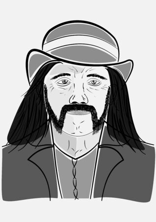 rupture: Man in a hat with a beard and long hair