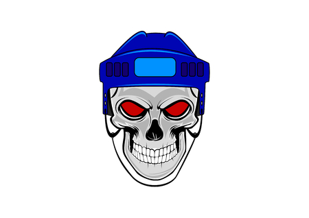 Human skull with blue hockey helmet Vektorové ilustrace