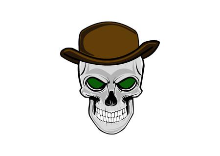 Cowboy skull wearing a stylish brown hat