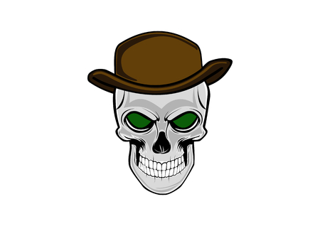 Cowboy skull wearing a stylish brown hat
