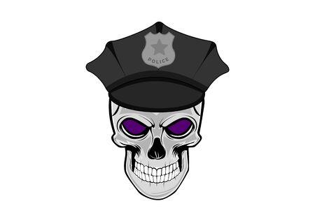 Vector illustration of human skull in shelf cap