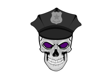 Vector illustration of human skull in shelf cap