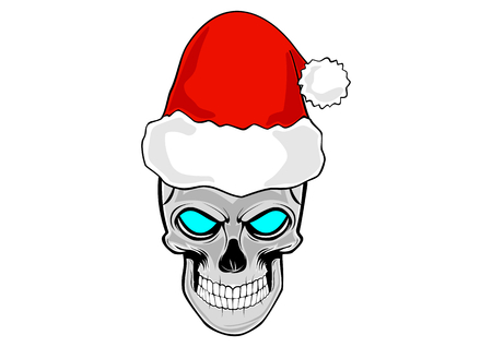 claus: human skull as the head of Santa Claus with red hat