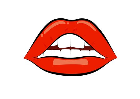 Red lips isolated on white background