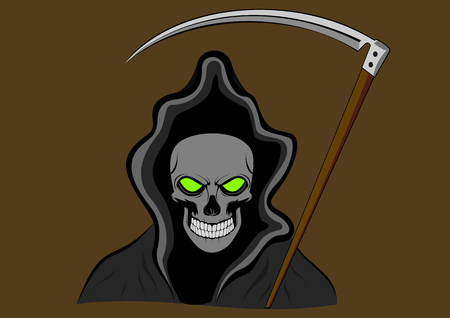 grim reaper with green eyes