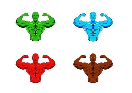 Color variations of bodybuilder, strong muscular man, athlete or fighter