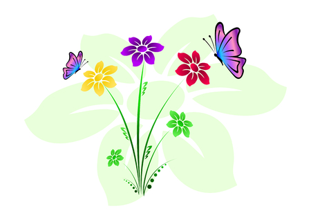 Colorful floral background with flowers and butterflies