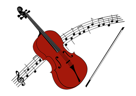 To violate violin with a string, in the background with a notation Illustration