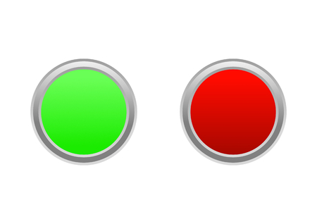Button on  off or start  stop in green and red color Illustration