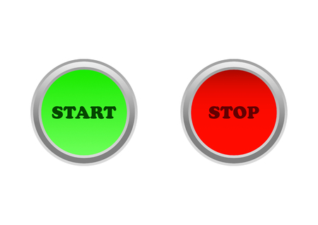 Button on / off or start / stop in green and red color  イラスト・ベクター素材