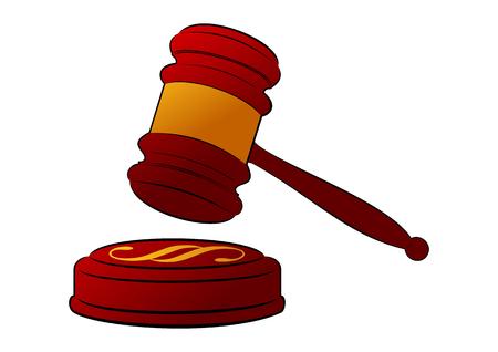 Wooden judges gavel with a golden stripe illustration. Illustration