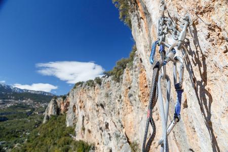 karabiner: climbing equipment on the top of the walls overlooking the valley Geykbairi