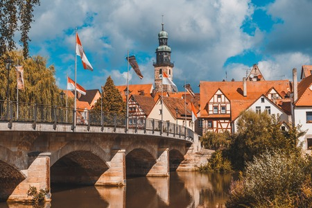 View of Lauf an der Pegnitz from Pegnitz river, Germany