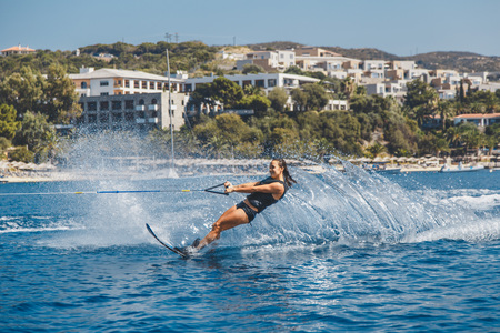 Water skis glides on the waves 스톡 콘텐츠